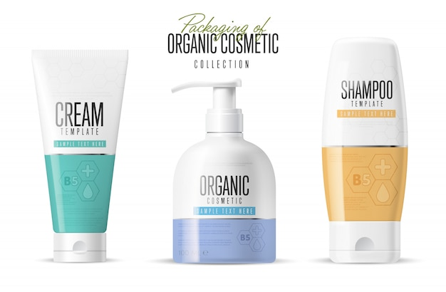 Realistischer kosmetikmarken-modellsatz