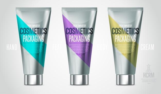 Realistischer kosmetischer produktsatz der gesichts- oder körperpflege