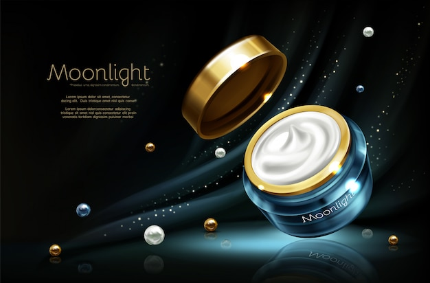 Realistischer kosmetischer werbungsspott des vektors 3d - nachtcreme im glas