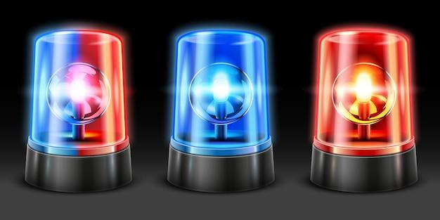 Realistischer krankenwagen blinkt. polizeilichtblinker, sicherheitslichter und warnsirene blinken lampen. 3d-set für notlicht
