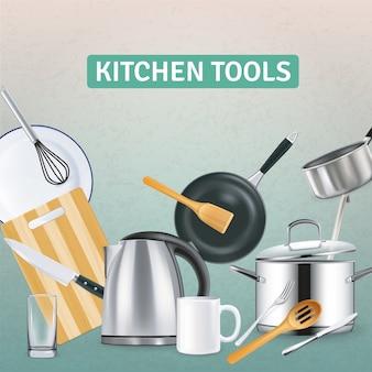 Realistischer küchenbedarf mit wasserkocher und hölzernen werkzeugen auf grauer strukturierter illustration