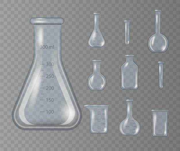 Realistischer laborbecher, glaskolben und andere chemikalienbehälter auf transparent