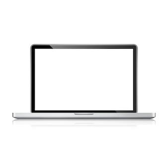 Realistischer laptop, computernotizbuch mit leerem bildschirm