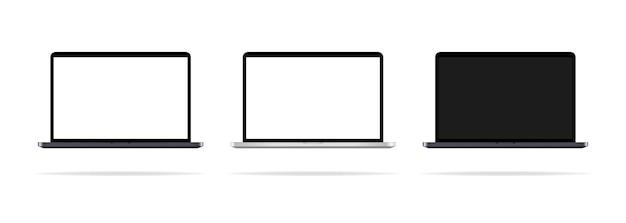 Realistischer laptop-desktop mit unterschiedlicher monitorillustration