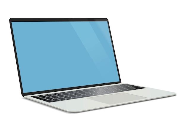 Realistischer laptop. getrennt auf weiß. digitale vektorillustration.