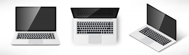 Realistischer laptop isometrisch, draufsicht und vorderansicht. satz notizbuch des 3d-computers mit leerem bildschirm lokalisiert auf weiß.