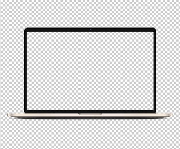 Realistischer laptop mit transparentem bildschirm. hochdetailliertes notizbuch