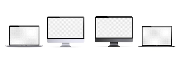 Realistischer laptop, notizbuch. computermonitorillustration. helles und dunkles thema. computer-monitor-symbol. weiße leere anzeige. vektor-eps 10. auf transparentem hintergrund isoliert