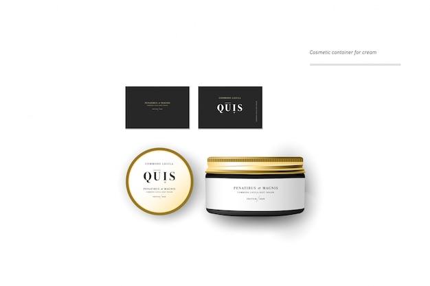 Realistischer leerer kosmetikbehälter für creme, puder oder gel. paketvorlage.