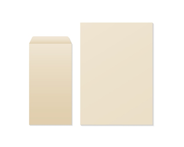 Realistischer leerer kraftpapierumschlag und -papier. umschlag und papiermodell. vorlage für geschäfts- und markenidentität.