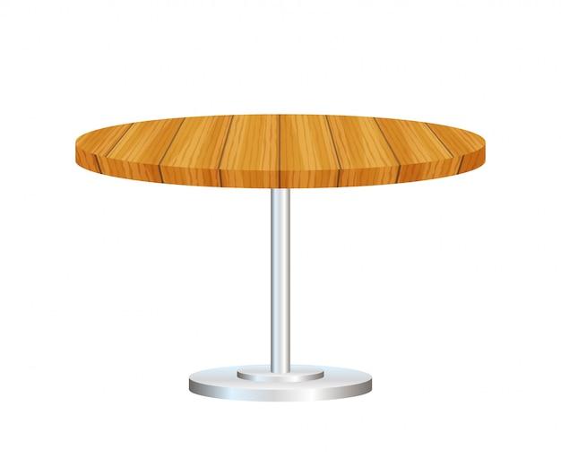Realistischer leerer runder tisch mit dem metallstand lokalisiert.