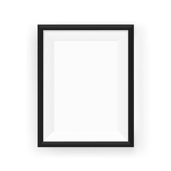 Realistischer leerer schwarzer bilderrahmen an einer wand. vektorabbildung getrennt auf weiß