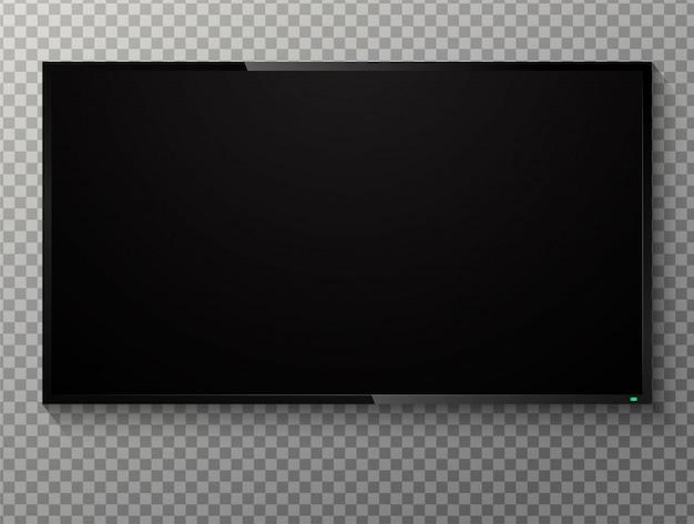 Realistischer leerer schwarzer bildschirm fernsehen auf einem transparenten hintergrund.