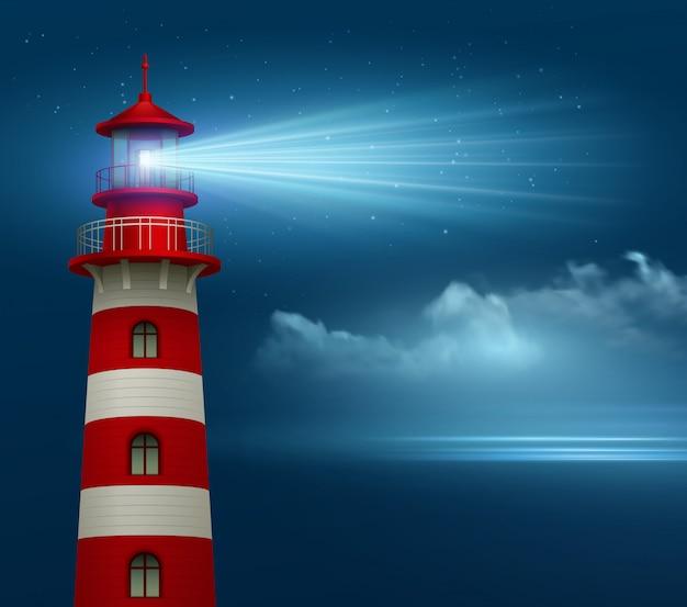 Realistischer leuchtturm im nachthimmelhintergrund.