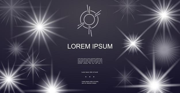 Realistischer lichteffekthintergrund mit leuchtend funkelnden glänzenden sternen und glitzern