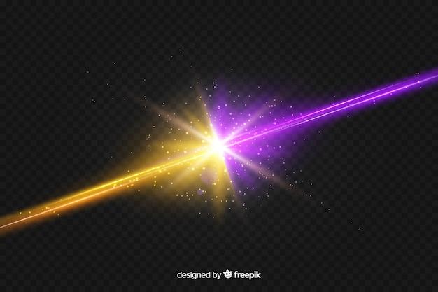 Realistischer lichteffekthintergrund mit zwei kräften