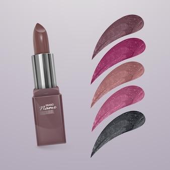 Realistischer lippenstift mit sammlung von lippenstiftstrichen verschiedener farben isoliert