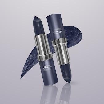 Realistischer lippenstift von dunkelblauer farbe mit lippenstiftstrich. 3d-illustration, trendiges kosmetisches design