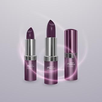 Realistischer lippenstift von dunkler kirschfarbe mit lippenstiftstrich. 3d-illustration, trendiges kosmetisches design
