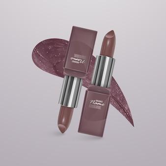Realistischer lippenstift von hellbrauner farbe mit einem strich lippenstift. 3d-illustration, trendiges kosmetisches design
