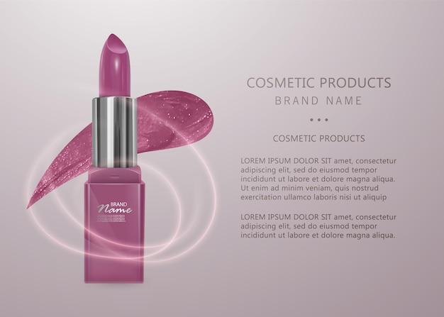 Realistischer lippenstift von hellrosa farbe. 3d-illustration, trendiges kosmetisches design