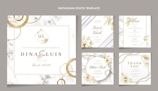 Realistischer luxus-instagram-post zur goldenen hochzeit Premium Vektoren