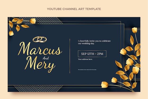 Realistischer luxus-youtube-kanal zur goldenen hochzeit