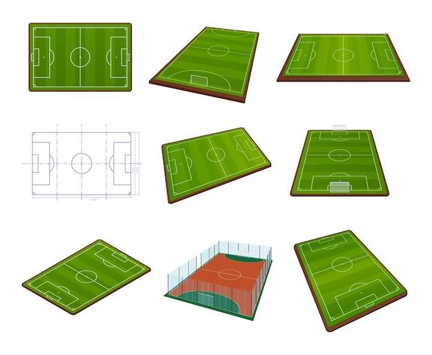 Realistischer markierter und schematisierter isometrischer satz des sportplatzes. eingezäunte felder zum fußballspielen