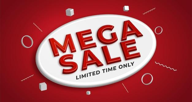 Realistischer mega sale 3d-schriftzug mit roter farbe getrennt