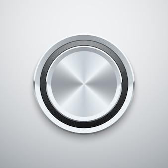 Realistischer metallchromsilberstahl runder vektorknopfknopf