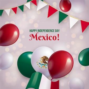 Realistischer mexikanischer unabhängigkeitstagballonhintergrund