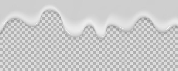 Realistischer milchjoghurt fließt auf eine transparente