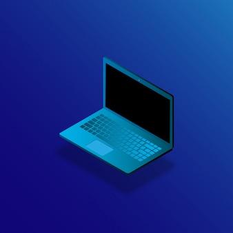 Realistischer modischer moderner laptop in der isometrievektorillustration.