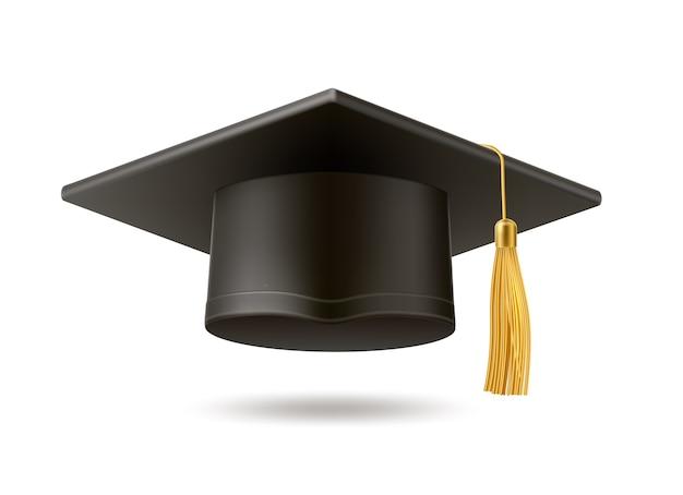Realistischer mörtelbretthut mit goldener quaste. hochschulabschluss schwarzer hut. symbol für akademische bildung, high school bachelor headware.