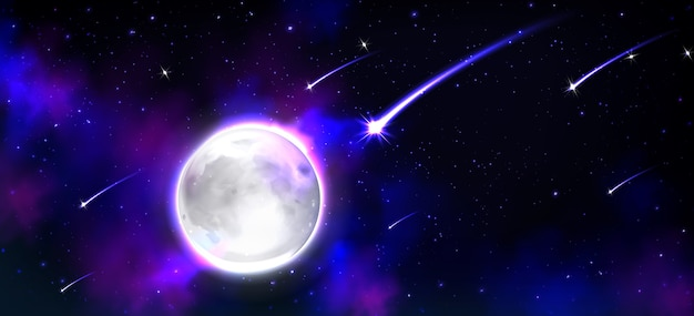 Realistischer mond im weltraum mit sternen und meteoren