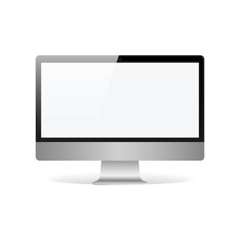 Realistischer monitor mit leerem touchscreen lokalisiert auf weißer vektorillustration
