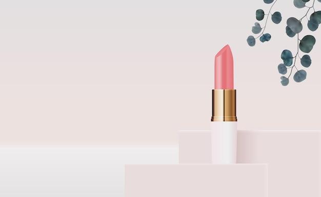 Realistischer natürlicher 3d-lippenstift auf rosa podium-entwurfsschablone des modekosmetikprodukts