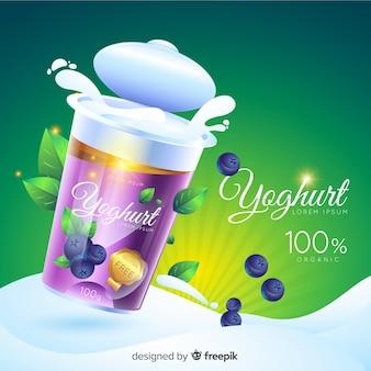 Realistischer natürlicher joghurtanzeigenhintergrund