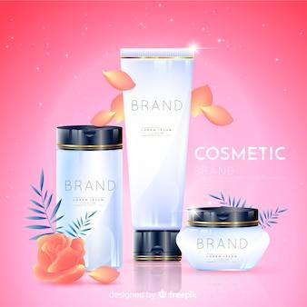 Realistischer natürlicher kosmetischer anzeigenhintergrund