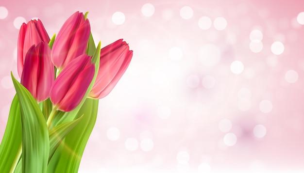 Realistischer natürlicher rosa tulpen-blumenhintergrund.
