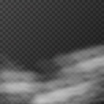 Realistischer nebel oder rauch auf dem transparenten