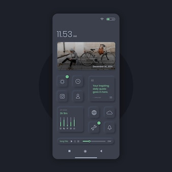 Realistischer neumorph-startbildschirm