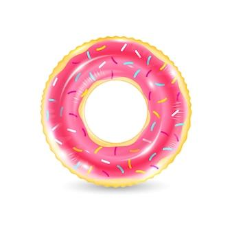 Realistischer nicht aufblasbarer schwimmring, der wie donut lokalisiert auf weißem hintergrund aussieht