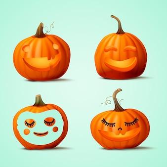 Realistischer niedlicher halloween-kürbis