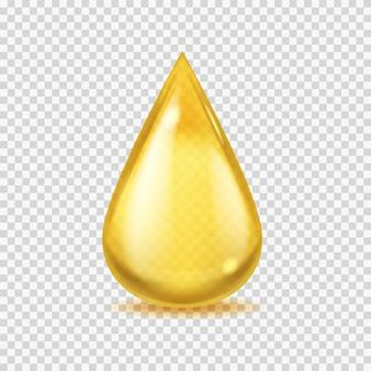 Realistischer öltropfen. goldvektorhonig oder erdöltröpfchen, ikone des gelben wesentlichen aromas oder der olivenöle, lokalisierte vektorillustration auf transparentem hintergrund