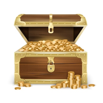 Realistischer offener alter hölzerner kasten mit goldenen münzen und verschluss auf weiß lokalisiert