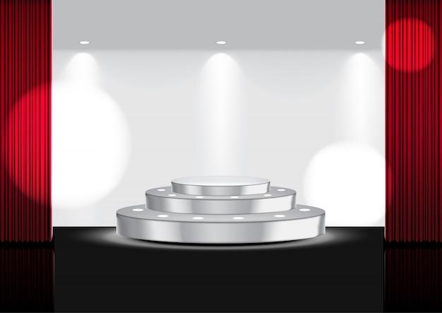 Realistischer offener roter vorhang auf metallischem stadium oder kino