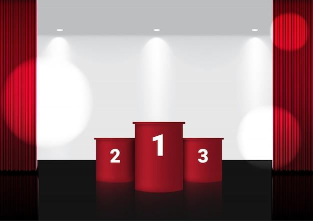 Realistischer offener roter vorhang auf roter preisbühne