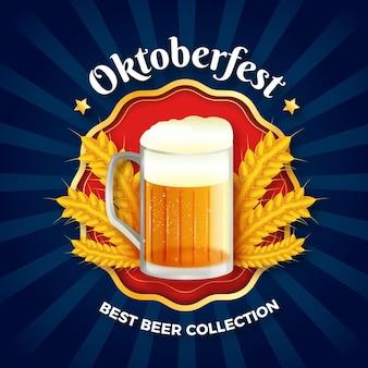 Realistischer oktoberfesthintergrund mit bier
