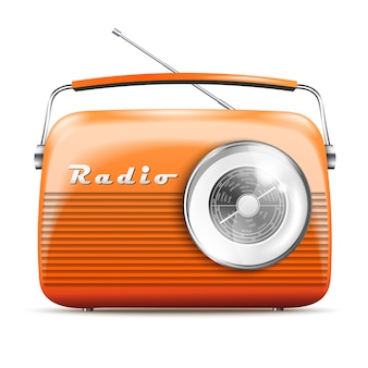 Realistischer orange retro- radio 3d. isolierte vektor-illustration